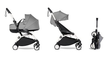 Carucior pentru copii BABYZEN YOYO² 2 in 1 compact cadru alb landou si pachet culoare 6+ Grey