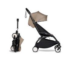 Carucior pentru copii BABYZEN YOYO² sport ultracompact cadru negru si pachet de culoare 6+ Taupe
