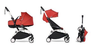 Carucior pentru copii BABYZEN YOYO² 2 in 1 compact cadru alb landou si pachet culoare 6+ Red