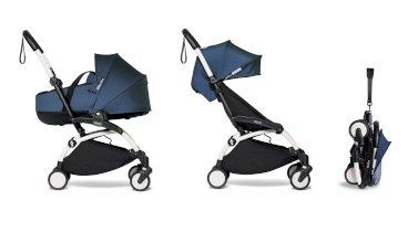 Carucior pentru copii BABYZEN YOYO² 2 in 1 compact cadru alb landou si pachet culoare 6+ Air Fance Blue
