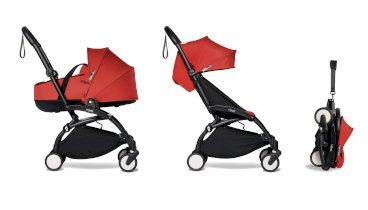 Carucior pentru copii BABYZEN YOYO² 2 in 1 compact cadru negru landou si pachet culoare 6+ Red