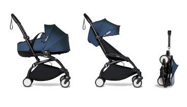 Carucior pentru copii BABYZEN YOYO² 2 in 1 compact cadru negru landou si pachet culoare 6+ Air France Blue