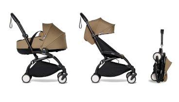 Carucior pentru copii BABYZEN YOYO²  2 in 1 compact cadru negru landou si pachet culoare 6+ Toffee