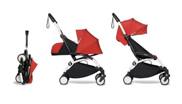 Carucior pentru copii BABYZEN YOYO² 2 in 1 compact cadru alb pachet nou nascut 0+ si pachet culoare 6+ Red