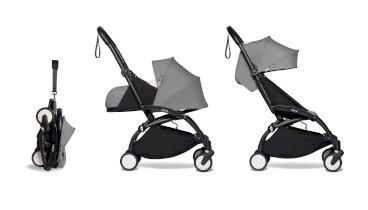 Carucior pentru copii BABYZEN YOYO² 2 in 1 compact cadru negru pachet nou nascut 0+ si pachet culoare 6+ Grey