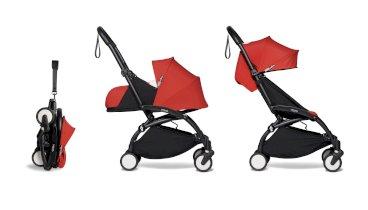 Carucior de copii 2 in 1 compact BABYZEN YOYO² cadru negru pachet nou nascut 0+ si pachet culoare 6+ Red