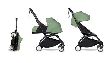Carucior pentru copii BABYZEN YOYO² 2 in 1 compact cadru negru pachet nou nascut 0+ si pachet culoare 6+ Peppermint