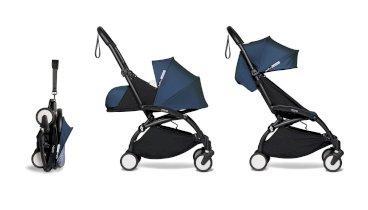 Carucior de copii 2 in 1 compact BABYZEN YOYO² cadru negru pachet nou nascut 0+ si pachet culoare 6+ Air France Blue