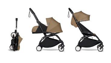 Carucior pentru copii BABYZEN YOYO² cadru negru pachet nou nascut 0+ si pachet culoare 6+ 2 in 1 compact Toffee