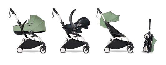 Carucior pentru copii BABYZEN YOYO² cadru alb cu landou scaun de masina si pachet 6+ all-in-one Peppermint
