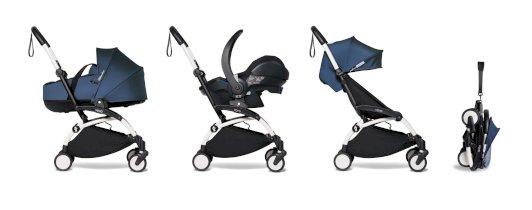 Carucior pentru copii BABYZEN YOYO² cadru alb cu landou scaun de masina si pachet 6+ all-in-one Air France Blue