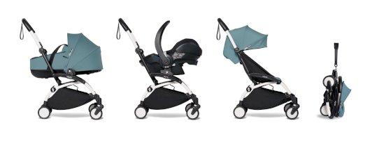 Carucior pentru copii BABYZEN YOYO² cadru alb cu landou scaun de masina si pachet 6+ all-in-one Aqua