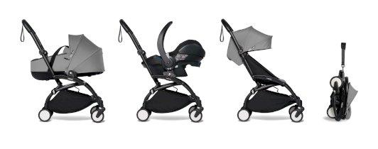 Carucior pentru copii BABYZEN YOYO² cadru negru cu landou scaun de masina si pachet 6+ all-in-one Grey