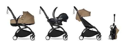 Carucior pentru copii BABYZEN YOYO² cadru negru landou scaun de masina si pachet 6+ all-in-one Toffee