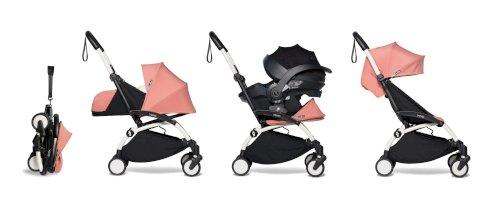 Carucior pentru copii BABYZEN YOYO² cadru alb pachet 0+ scaun de masina si pachet 6+ all-in-one Ginger