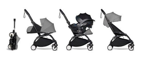 Carucior pentru copii BABYZEN YOYO² cadru negru pachet 0+ scaun de masina si pachet 6+ all-in-one Grey