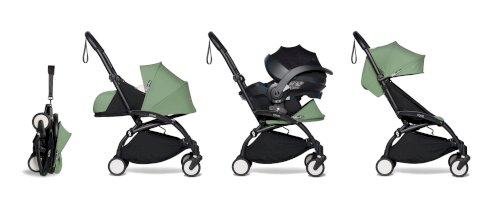 Carucior de copii all-in-one BABZYEN YOYO² cadru negru pachet 0+ scaun de masina si pachet 6+ Peppermint