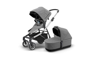 Carucior pentru copii 2 in 1 sport si landou elegant Thule Sleek + Thule Sleek Bassinet Aluminum/Grey Melange