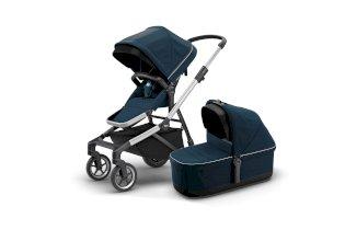 Carucior pentru copii Thule Sleek + Thule Sleek Bassinet 2 in 1 sport si landou elegant Aluminum/Navy Blue