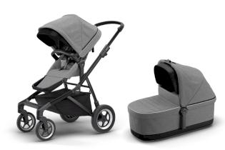 Carucior pentru copii 2 in 1 sport si landou elegant Thule Sleek + Thule Sleek Bassinet Grey Melange on Black